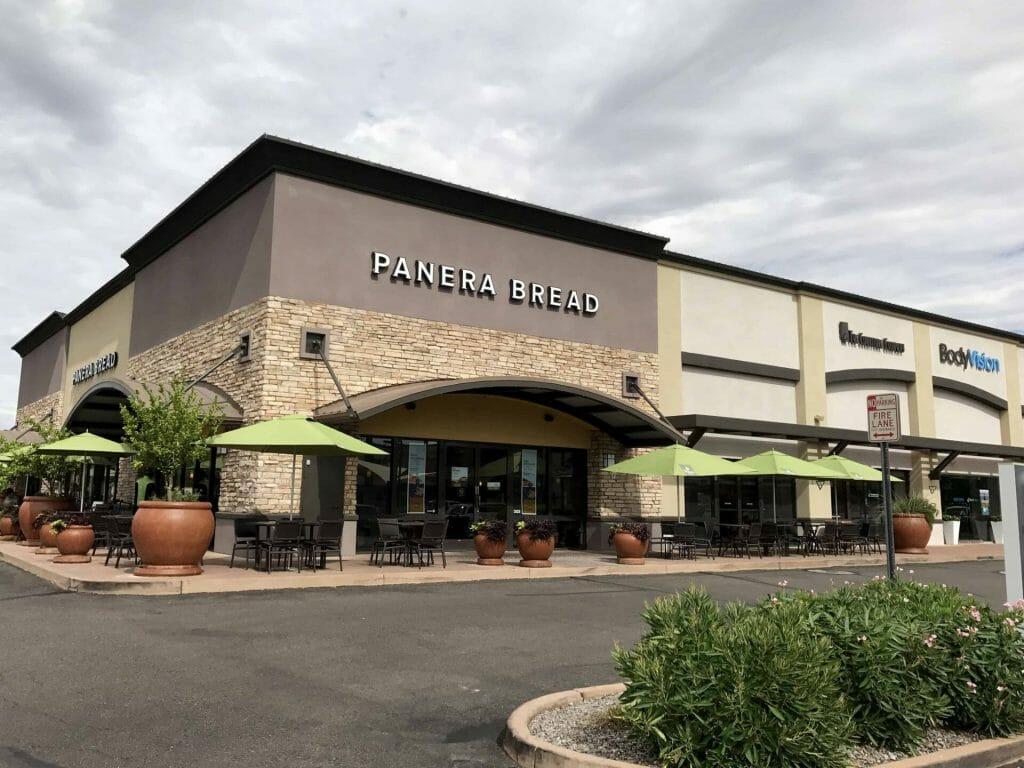 Parking lot view of panera bread restaurant