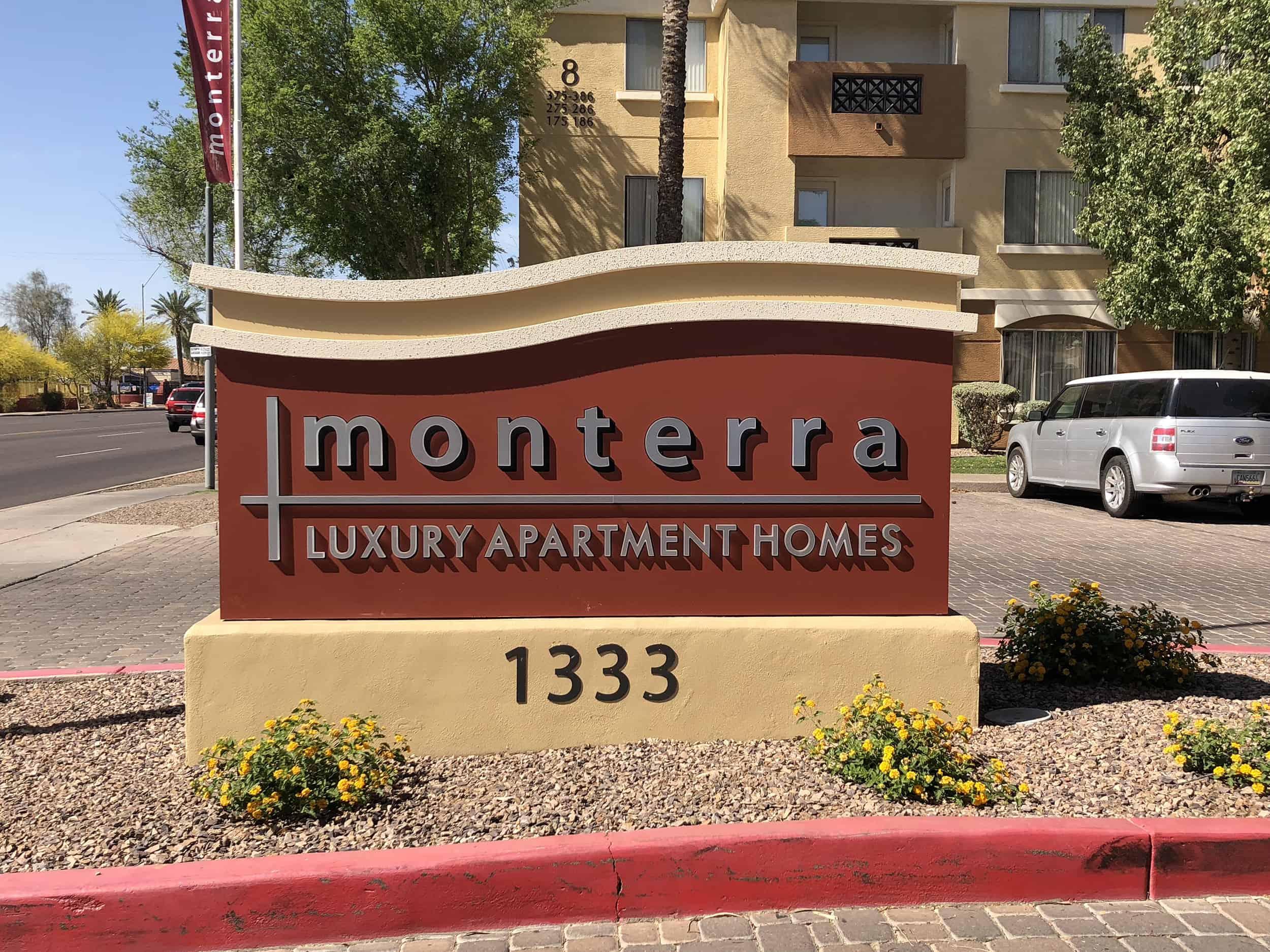 monterra luxury apartments freshly painted sign