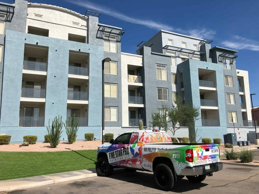 five star pro paintings truck outside of painted lofts in Tempe
